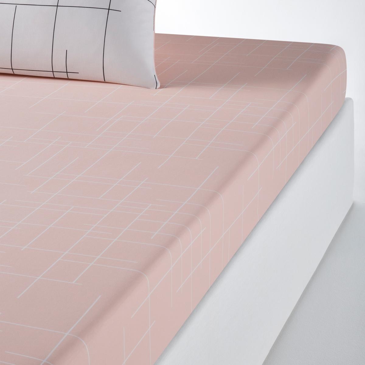 Простыня La Redoute Натяжная с рисунком CHARLINE 90 x 190 см белый чехол la redoute защитный для матраса натяжной из эластичной микрофибры 90 x 190 см белый
