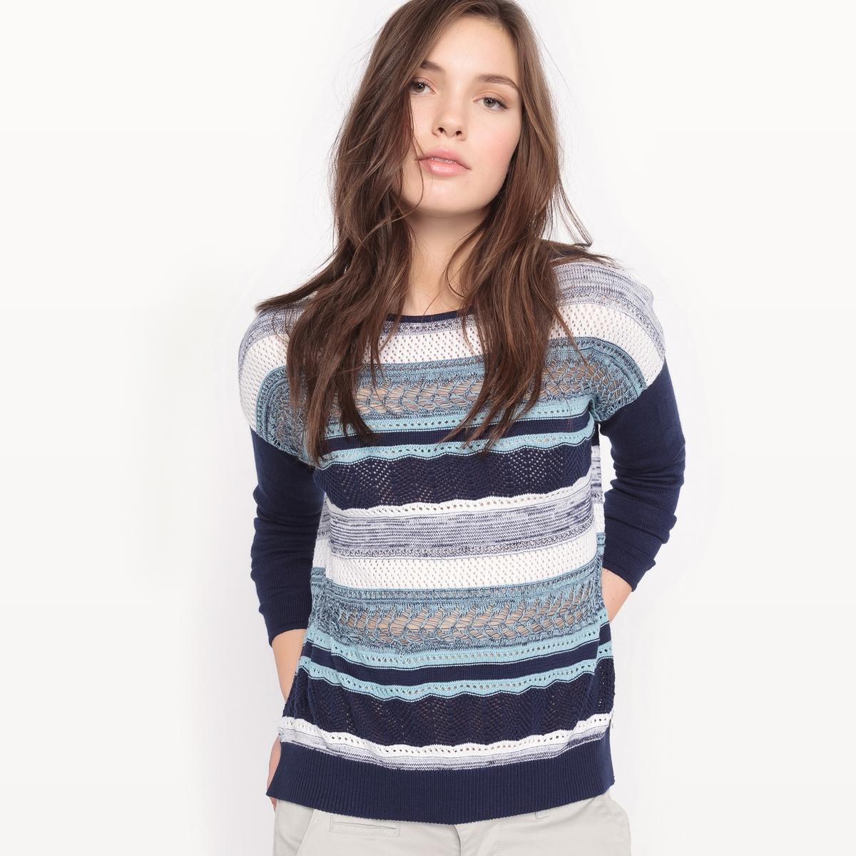 Пуловер с круглым вырезом из акрилаМатериал : 55% акрила, 45% хлопка Длина рукава : длинные рукава Форма воротника : круглый вырез Покрой пуловера : стандартный Рисунок : в полоску<br><br>Цвет: в полоску экрю/синий