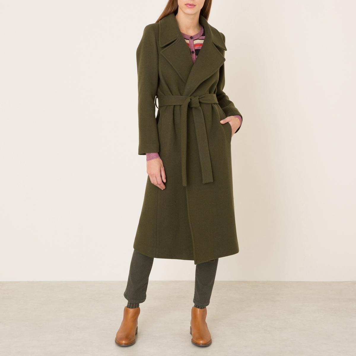 Пальто длинное женское однотонноеСостав и описание    Материал : 78% необработанной шерсти, 22% полиамида    Марка : LA BRAND BOUTIQUE<br><br>Цвет: хаки<br>Размер: 38 (FR) - 44 (RUS)