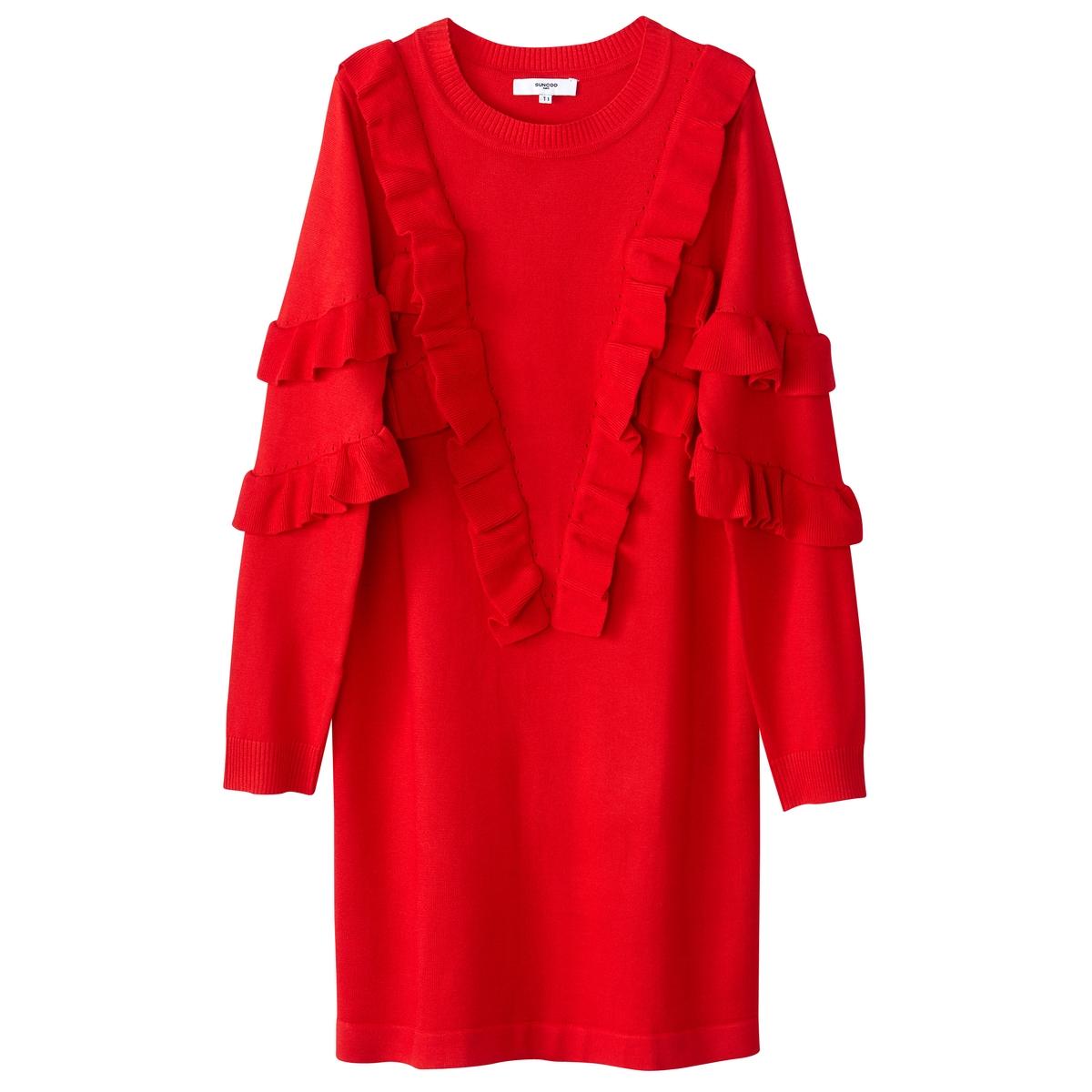 Платье-пуловер короткое с воланами и длинными рукавамиОписание:Детали  •  Форма : платье-пуловер •  Укороченная модель •  Длинные рукава    •  Круглый вырезСостав и уход  •  100% вискоза •  Следуйте советам по уходу, указанным на этикетке<br><br>Цвет: красный<br>Размер: M.S