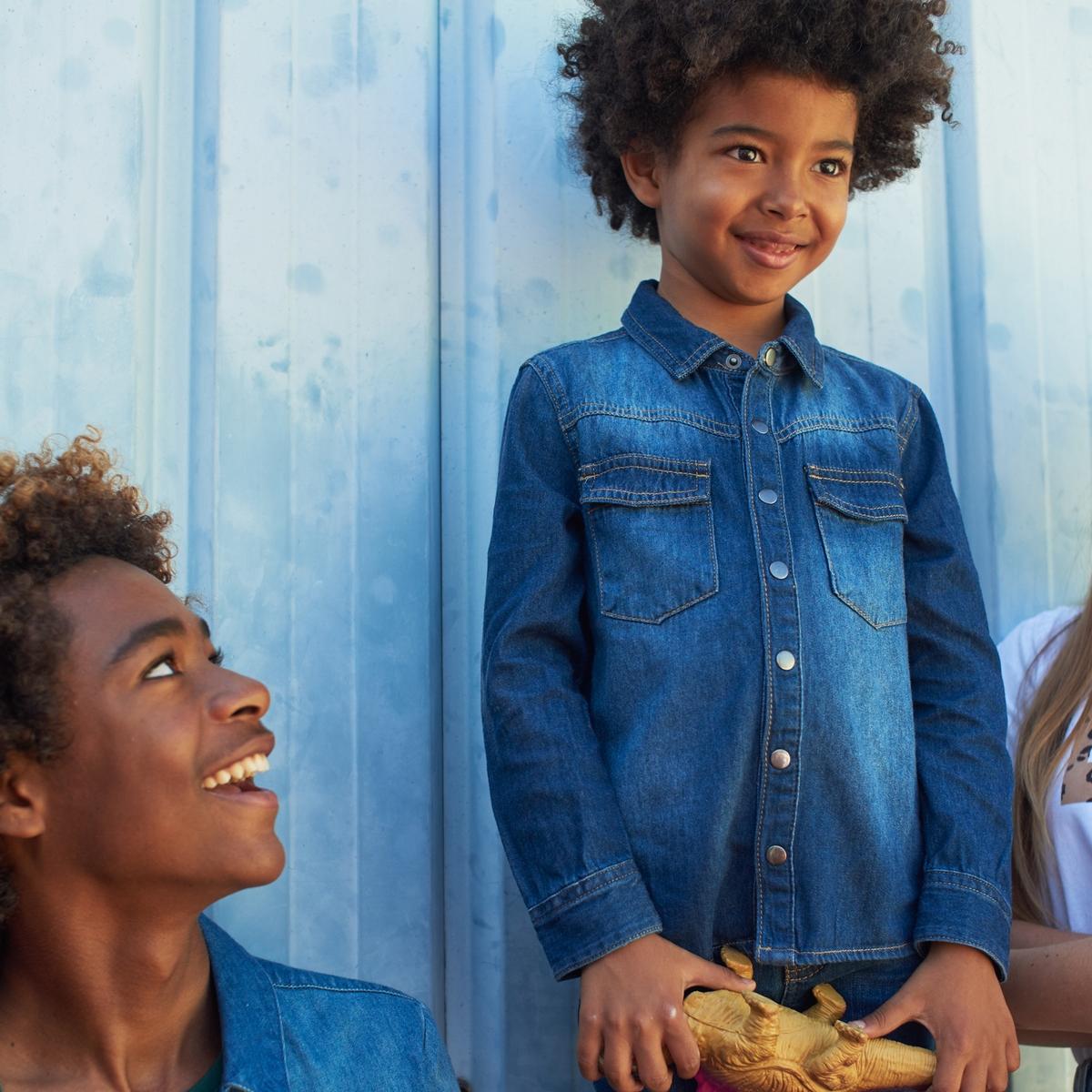 Рубашка La Redoute Джинсовая 3 года - 94 см синий рубашка la redoute джинсовая узкая jjesheridan s синий