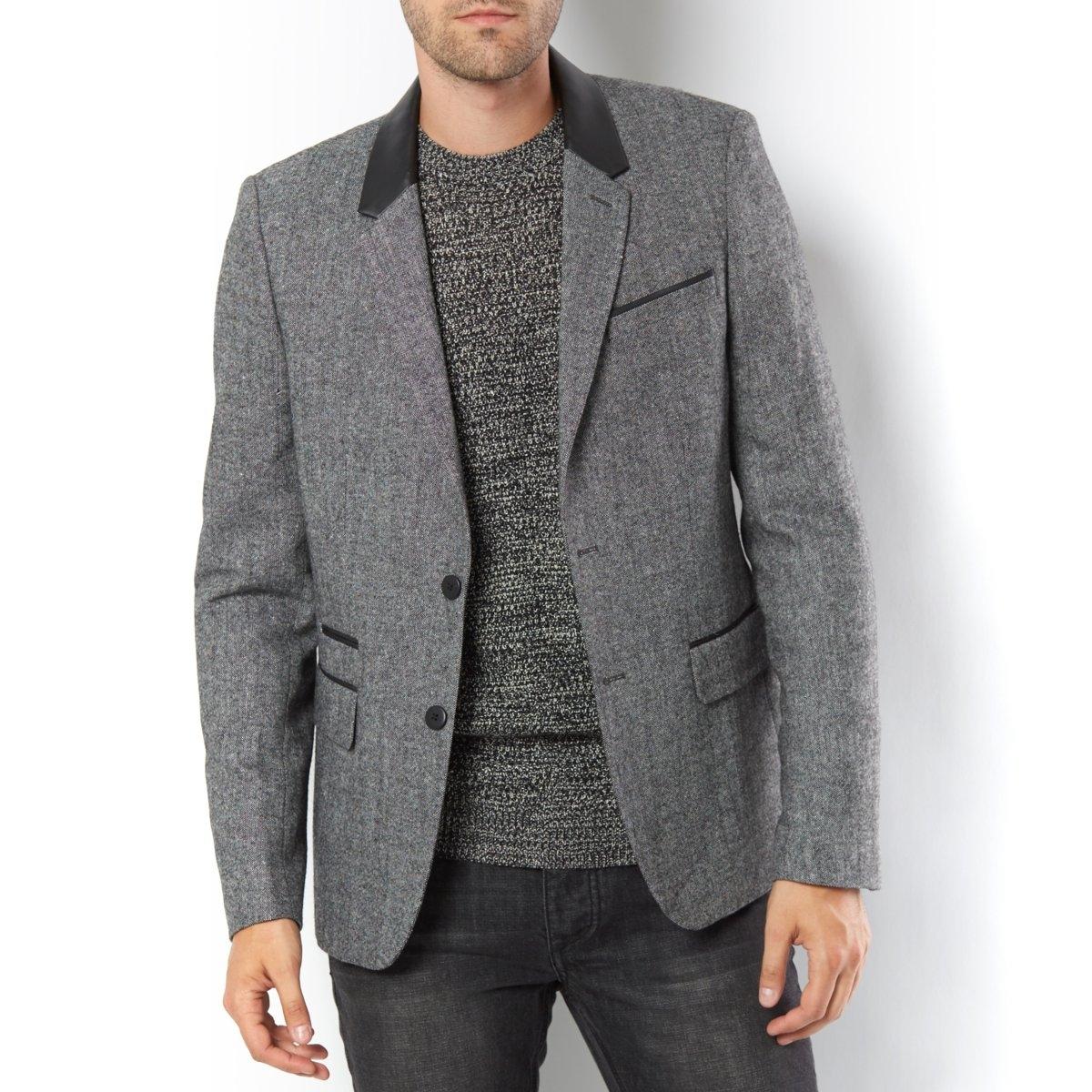 Пиджак с воротником из искусственной кожи