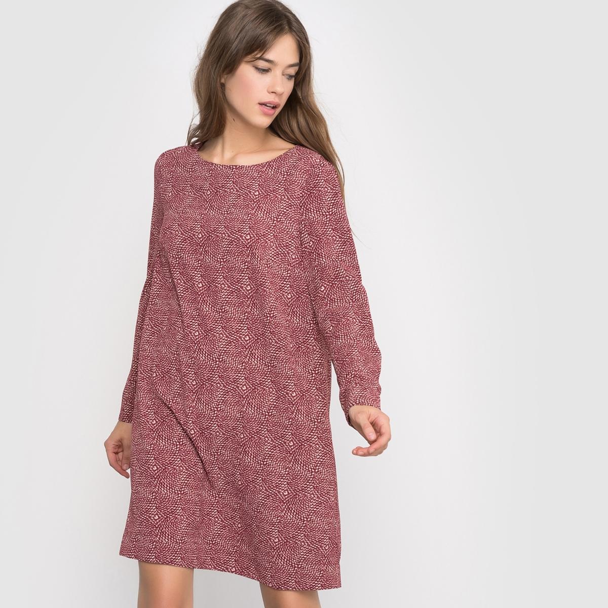 Платье с воланами сзадиПлатье с длинными рукавами R ?dition. Платье слегка расширяющегося к низу покроя с воланом сзади. Оригинальный рисунок. Длина 90 см. Состав и описание :Материал : 96% полиэстера, 4% эластанаМарка :      R ?ditionДлина : 90 смУходМашинная стирка при 30 °С с вещами схожих цветов Стирать и гладить с изнаночной стороныГладить при низкой температуре<br><br>Цвет: набивной рисунок
