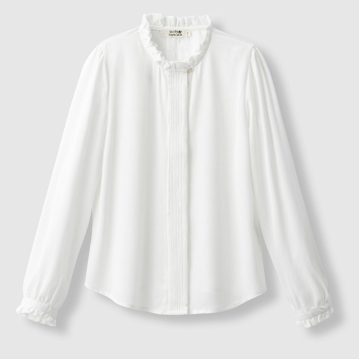 Блузка с воротником-стойка и длинными рукавамиСостав и описаниеМарка : MOLLY BRACKEN.Материал : 100% полиэстерУходМашинная стирка при 30 °C   Стирать с вещами схожих цветов<br><br>Цвет: белый,черный