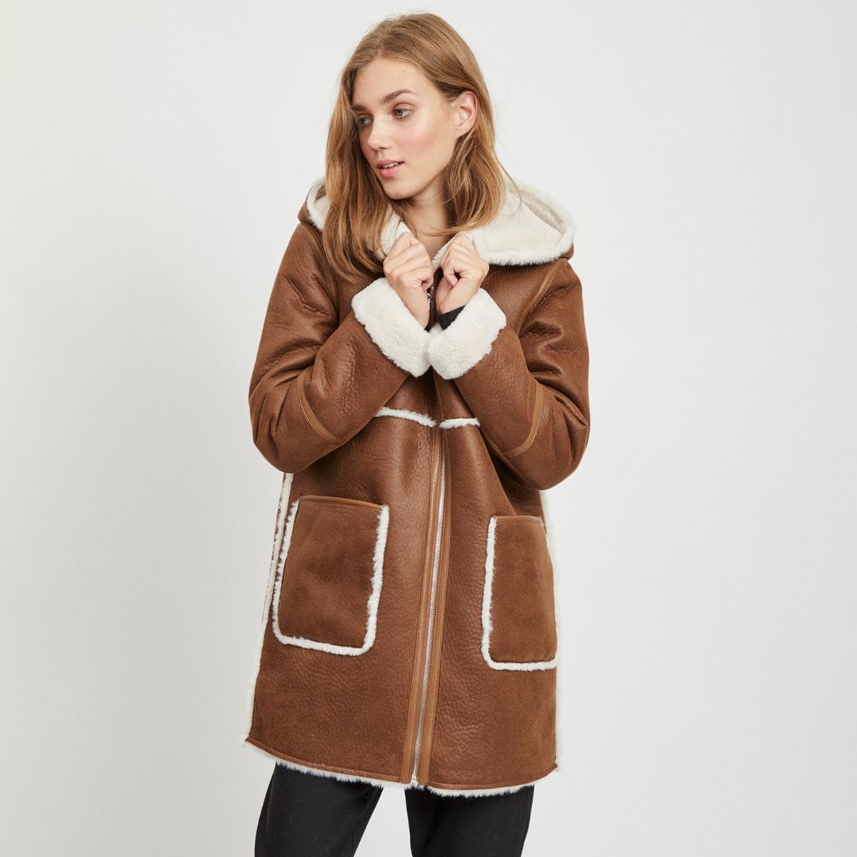 Пальто La Redoute С капюшоном под кожу мутон 36 (FR) - 42 (RUS) каштановый пальто la redoute в клетку 34 fr 40 rus каштановый