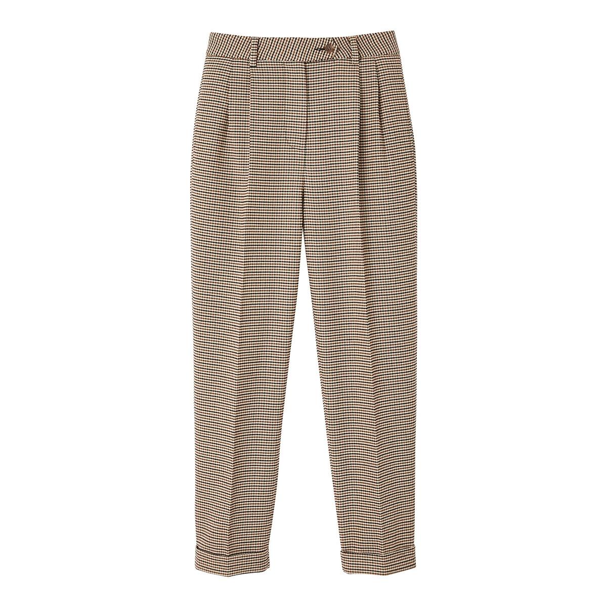 Pantalon slim à pinces, carreaux pied-de-poule