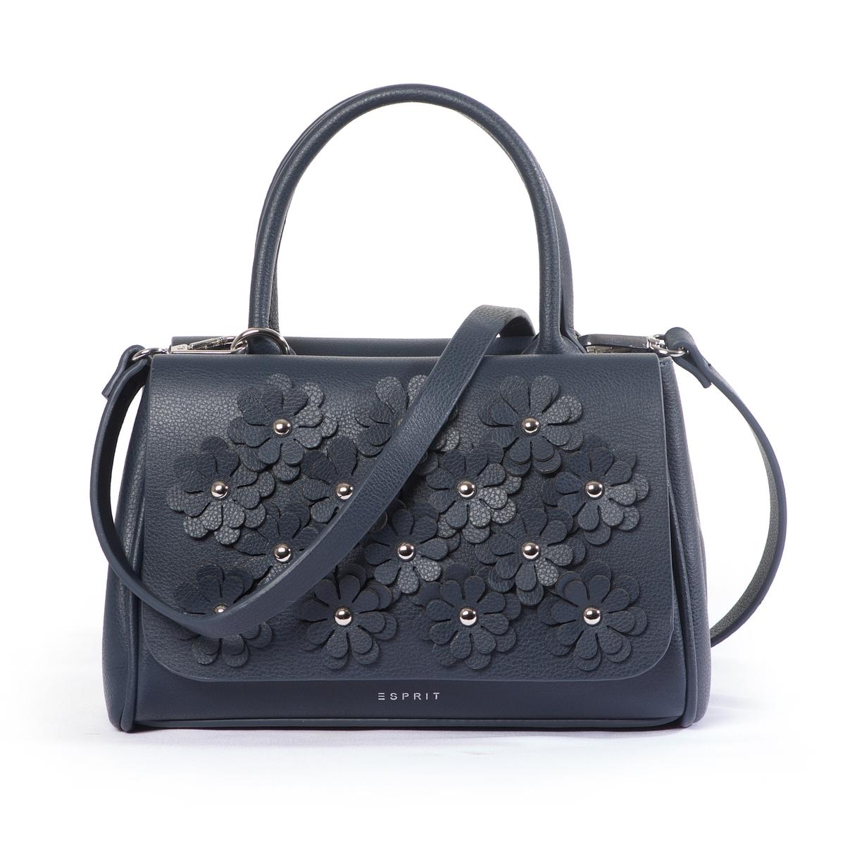 Сумка TyraОчень модная сумка в винтажном стиле с оригинальным рельефным цветочным рисунком ! Можно носить в руке или на плече.Состав и описание :  •  Материал : верх из полиуретана              Подкладка из полиэстера.  •  Марка : Esprit •  Модель : Tyra •  Размер : 17 x 22,5 x 22 см •  Застежка : на клипсуВнутренний карман Съемный и регулируемый ремешок<br><br>Цвет: синий морской<br>Размер: единый размер