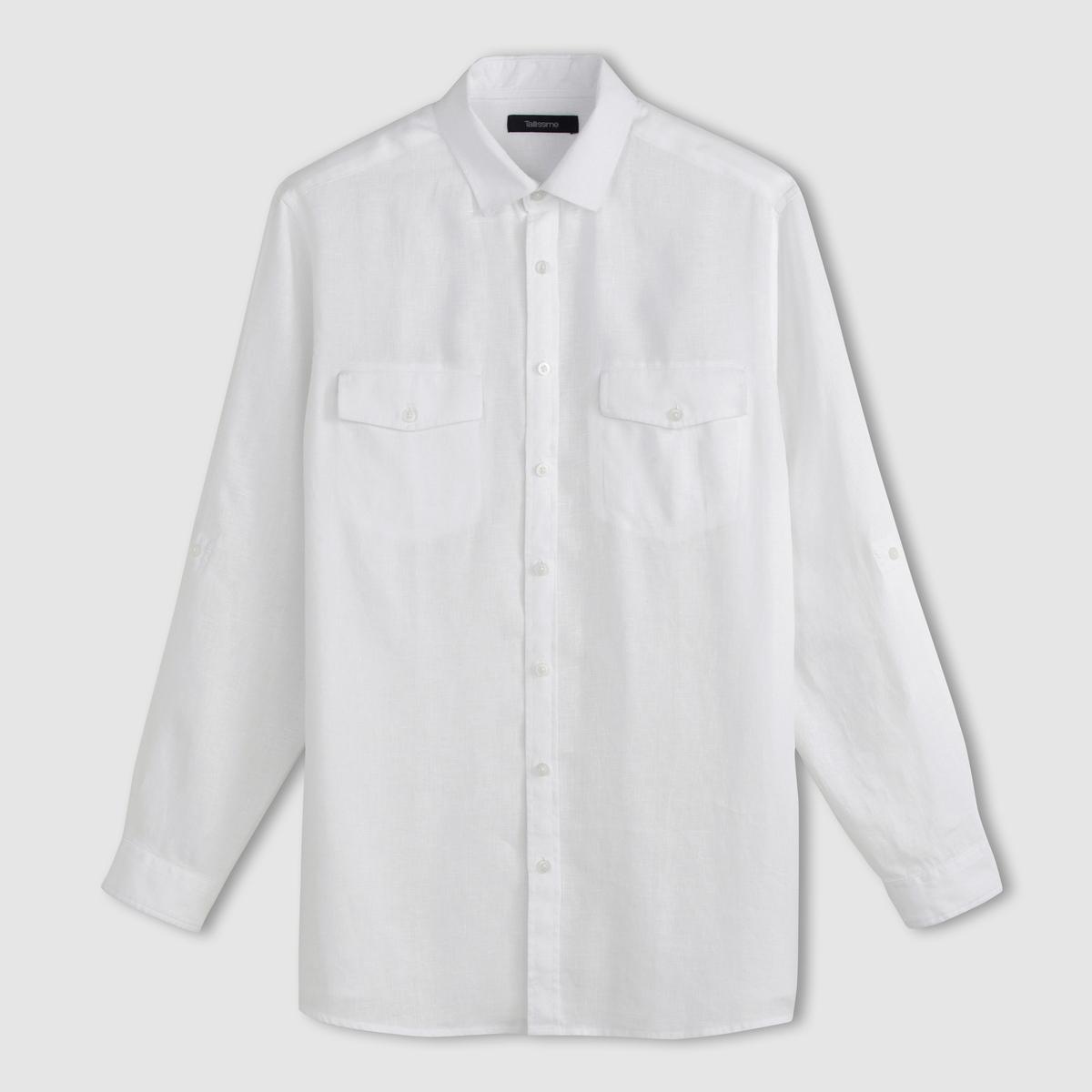 Рубашка с длинными рукавами из льнаРубашка с длинными рукавами. Удобная модель. 100% лен. Длинные рукава можно подворачивать. Воротник со свободными уголками. 2 нагрудных кармана с клапаном. Складка сзади. Закругленный низ. - длина рубашки спереди : 83 см для размера 41/42 и 92 см для размера 59/60.- длина рукавов : 65 см<br><br>Цвет: голубой меланж<br>Размер: 45/46.51/52.53/54.57/58