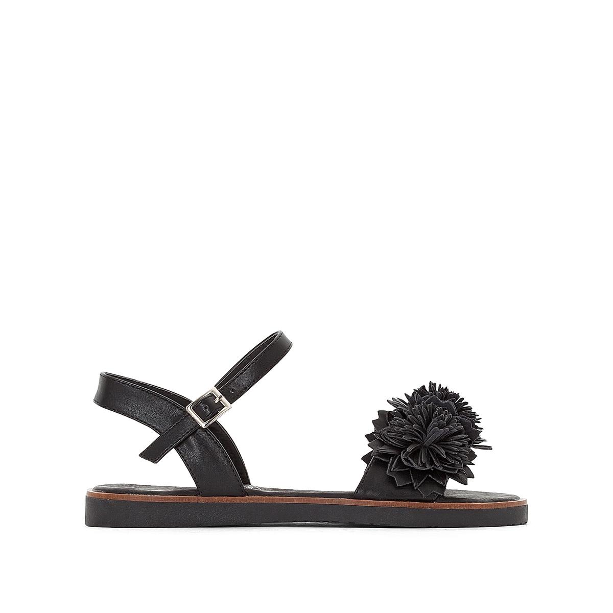 Сандалии синтетические, AcaciaДетали •  Плоский каблук •  Высота каблука : 1 см •  Застежка : ремешок/пряжка •  Открытый мысок •  Гладкая отделкаСостав и уход •  Верх 100% синтетический материал •  Стелька 100% кожа •  Подошва 100% каучук<br><br>Цвет: черный