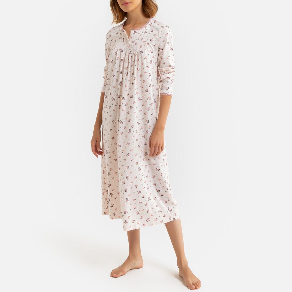 Ночная La Redoute Рубашка длинная из трикотажа вставка из макраме 34/36 (FR) - 40/42 (RUS) разноцветный рубашка ночная с макраме