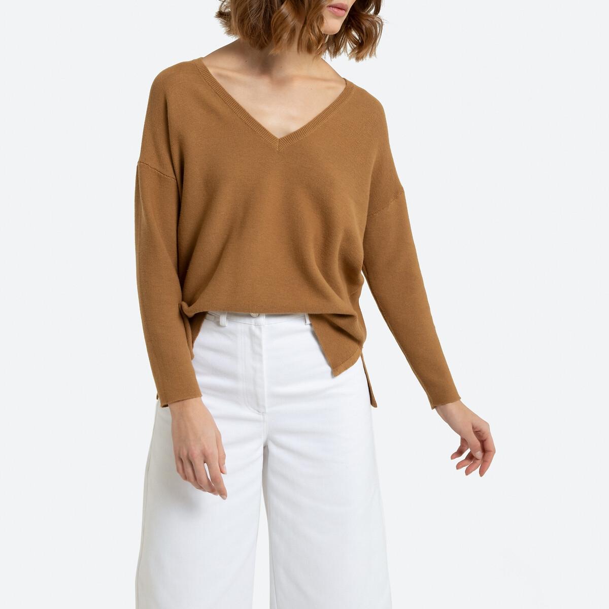 Пуловер La Redoute С V-образным вырезом из тонкого трикотажа XL каштановый пуловер la redoute с v образным вырезом из тонкого витого трикотажа m каштановый