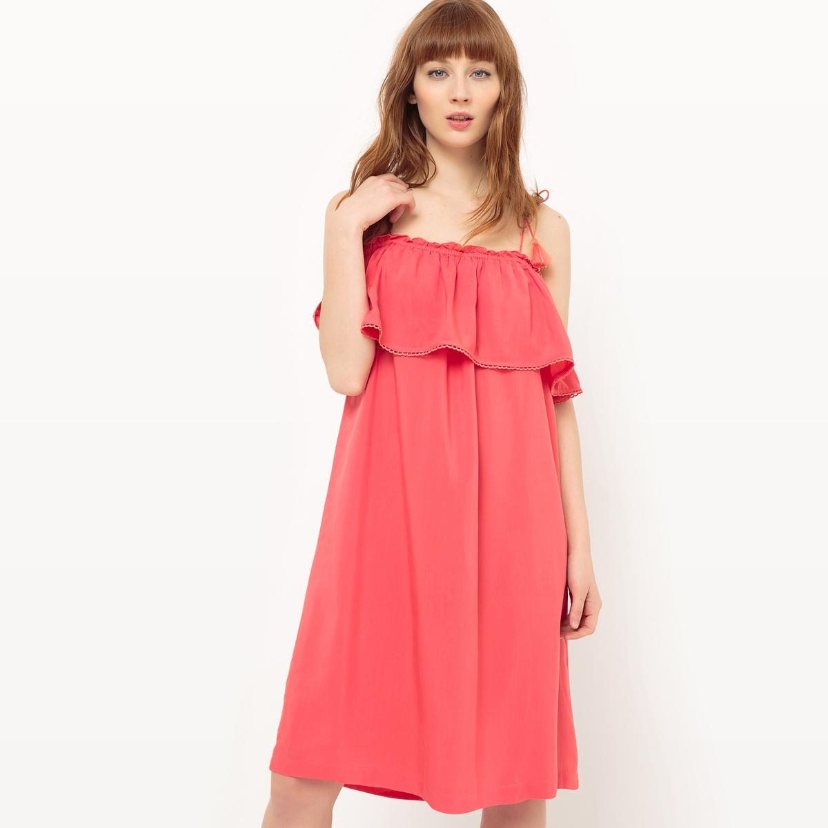 Платье с воланами и открытыми плечами платье без рукавов suncoo