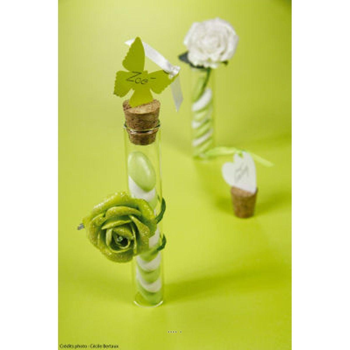 Eprouvette avec bouchon de liege a garnir en verre H 10 cm - choisissez votre dimension: D 2 CM X L 10 CM