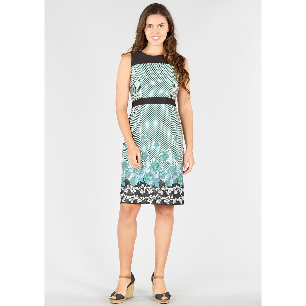 Платье прямое с рисунком в горошек и цветочным рисунком, без рукавов