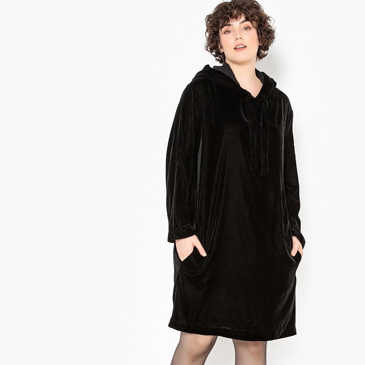 Платье прямого покроя средней длины из велюра рубашка прямого покроя большого размера с контрастными пуговицами