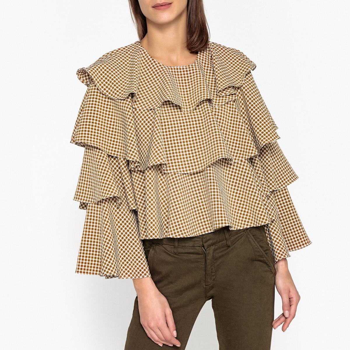 Блузка объемная в клетку с воланами KAK блузка в клетку с воланами и длинными рукавами check