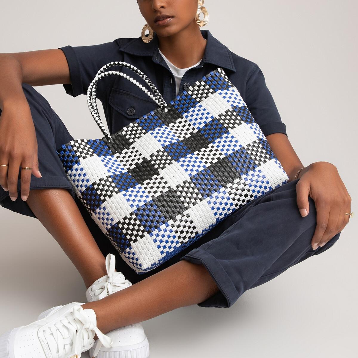 Фото - Сумка-шоппер LaRedoute В клетку единый размер белый сумка шоппер laredoute из льна с блесками единый размер синий