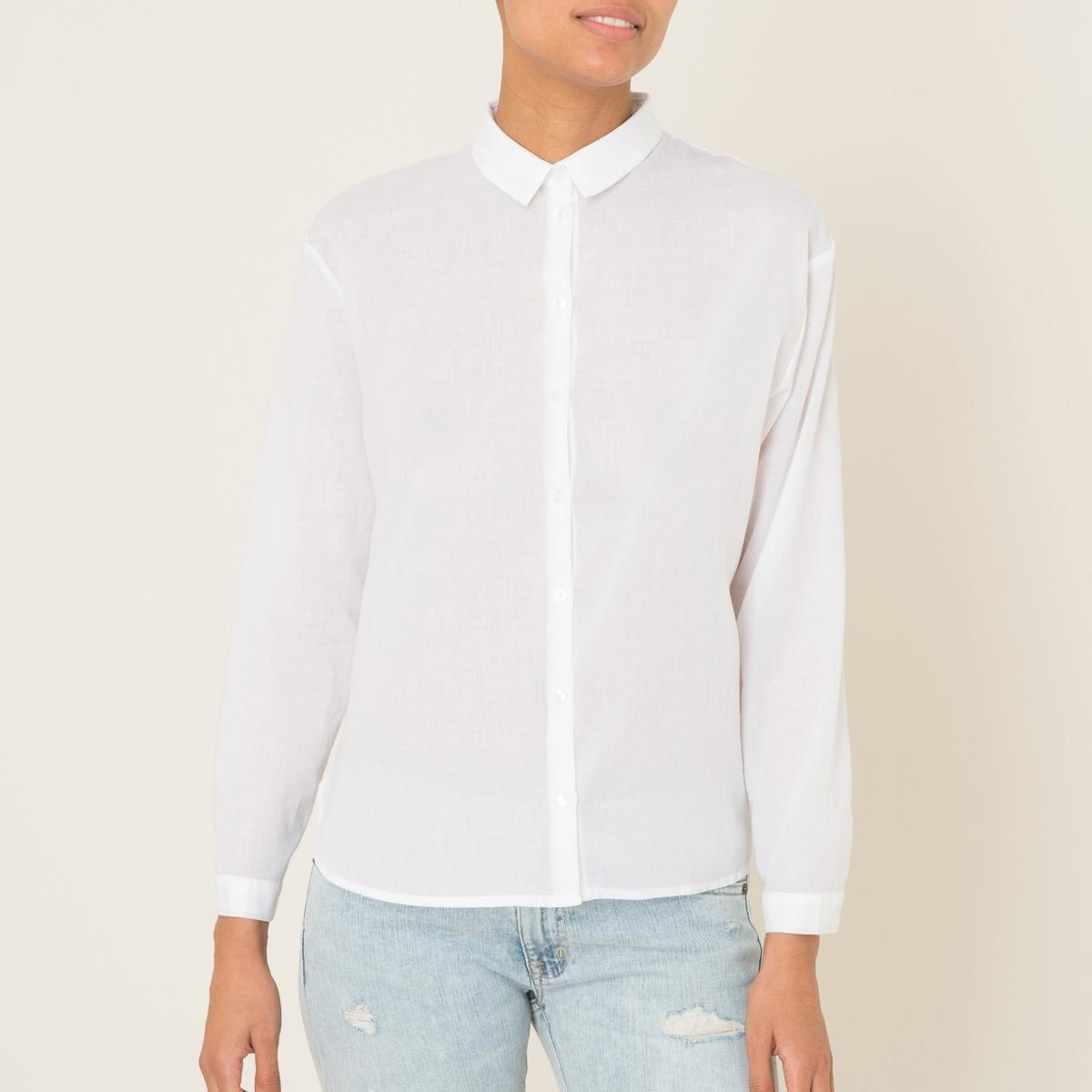 Рубашка однотоннаяСостав и описание    Материал : вуаль 100% хлопка.   Марка : HARRIS WILSON<br><br>Цвет: белый,голубой<br>Размер: L.L
