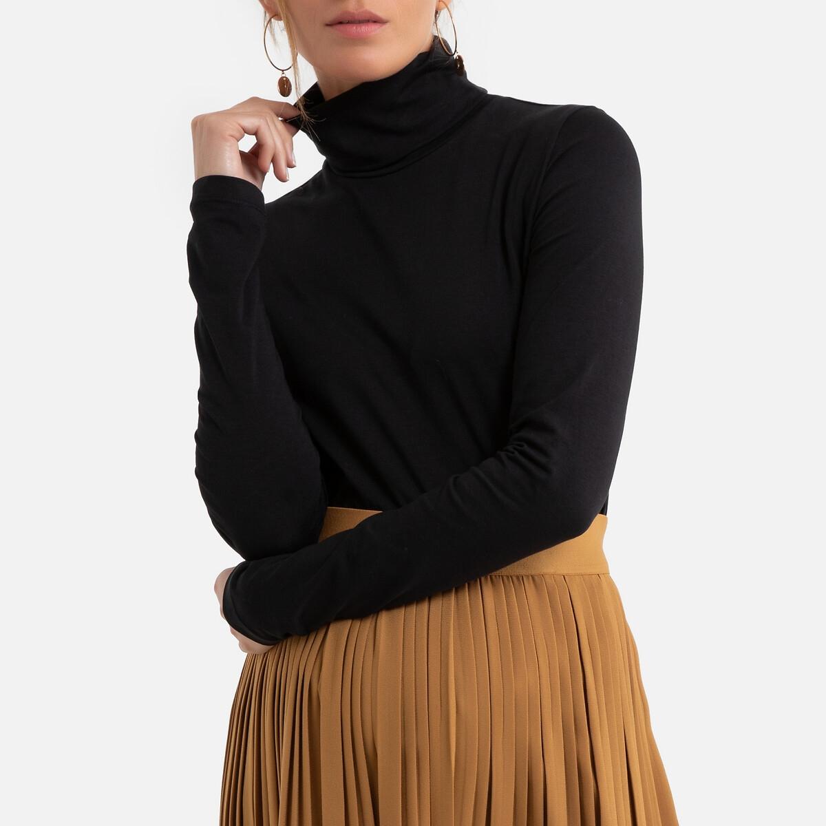 Фото - Футболка LaRedoute Для периода беременности с высоким воротником и длинными рукавами L черный блузка с рисунком и длинными рукавами для периода беременности
