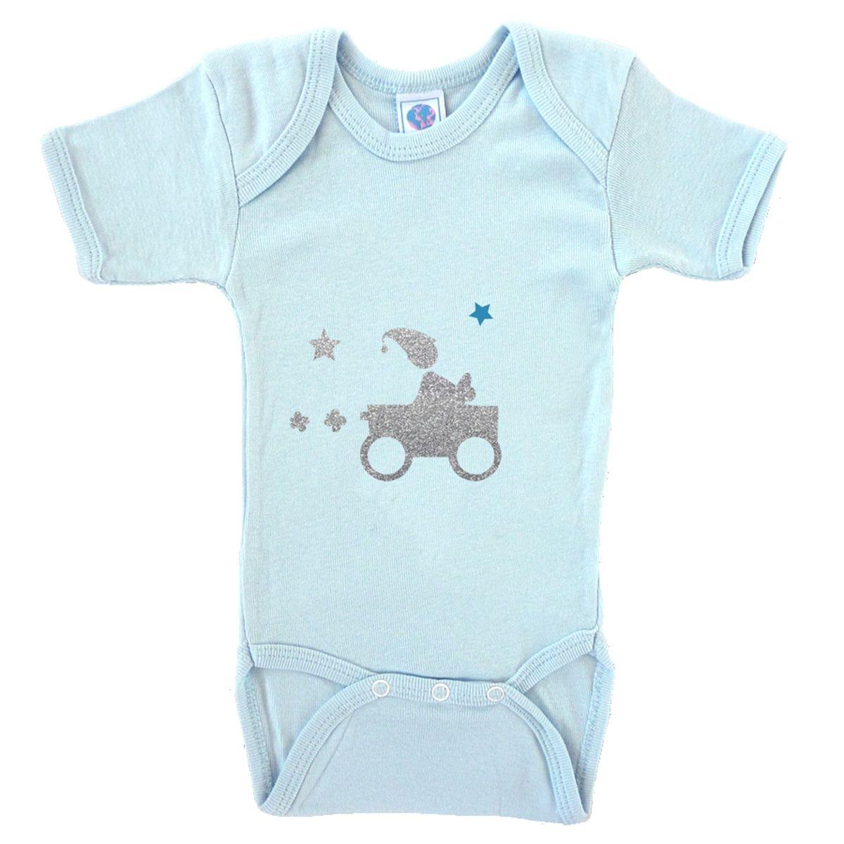 Body bébé en coton manches courtes bleu