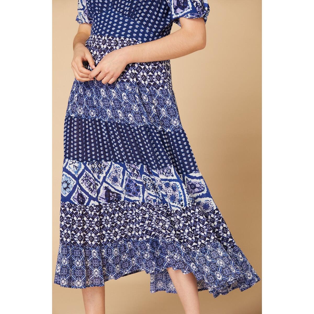 Платье La Redoute Длинное струящееся с рисунком оборками и V-образным вырезом S синий платье la redoute длинное amandine s разноцветный