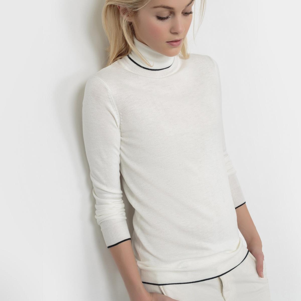 Пуловер с воротником из смешанной ткани с шерстью