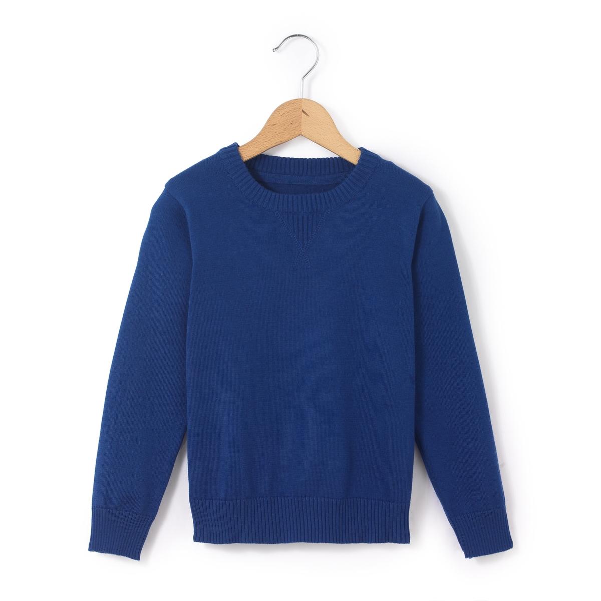 Пуловер однотонный с круглым вырезом, 3-12 лет
