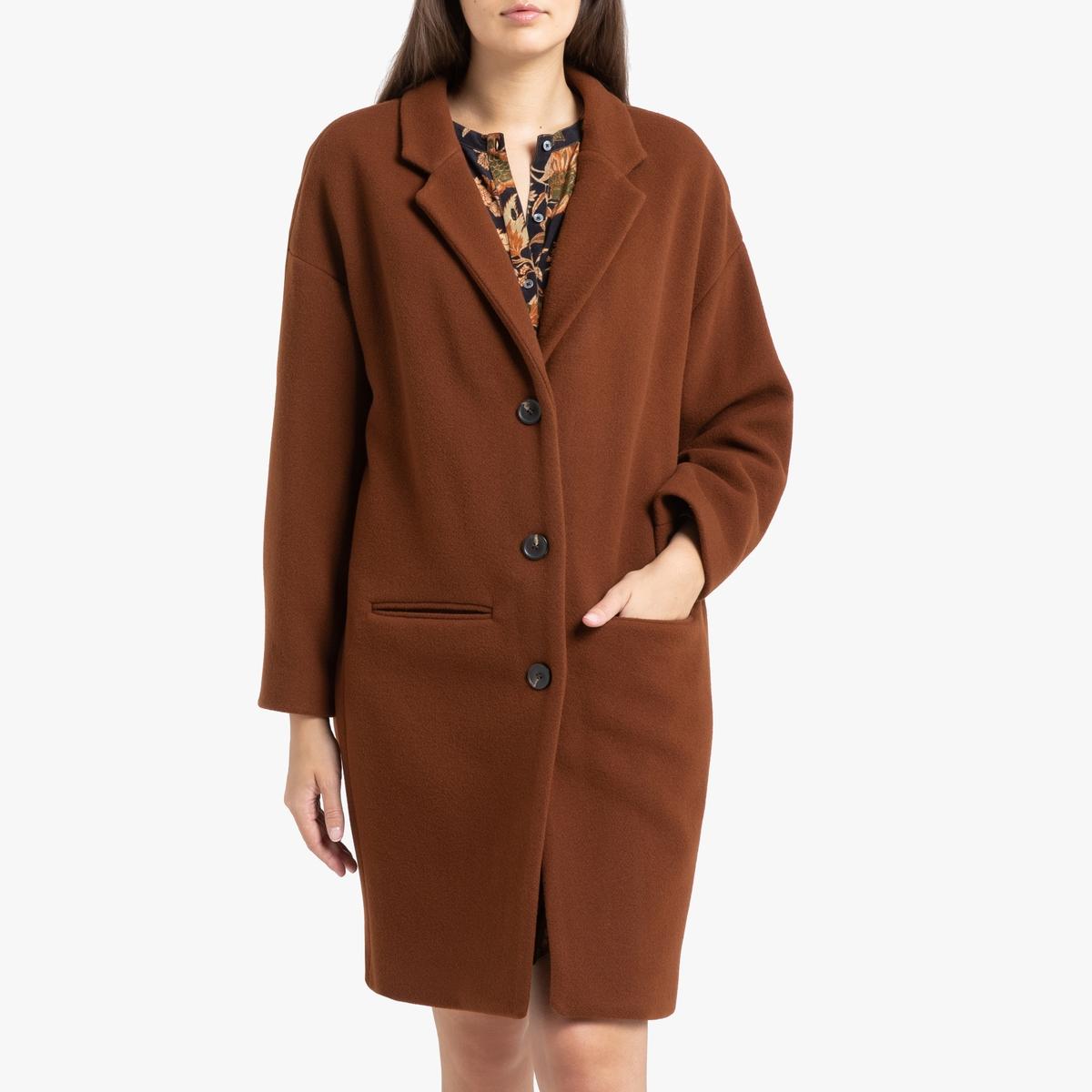 все цены на Пальто La Redoute Длинное с застежкой на пуговицы GOLAND 38 (FR) - 44 (RUS) каштановый онлайн