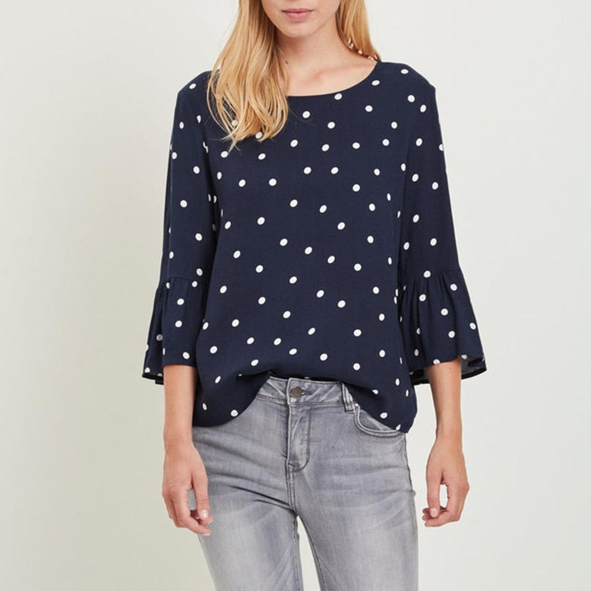 Блузка струящаяся с круглым вырезом и широкими рукавами