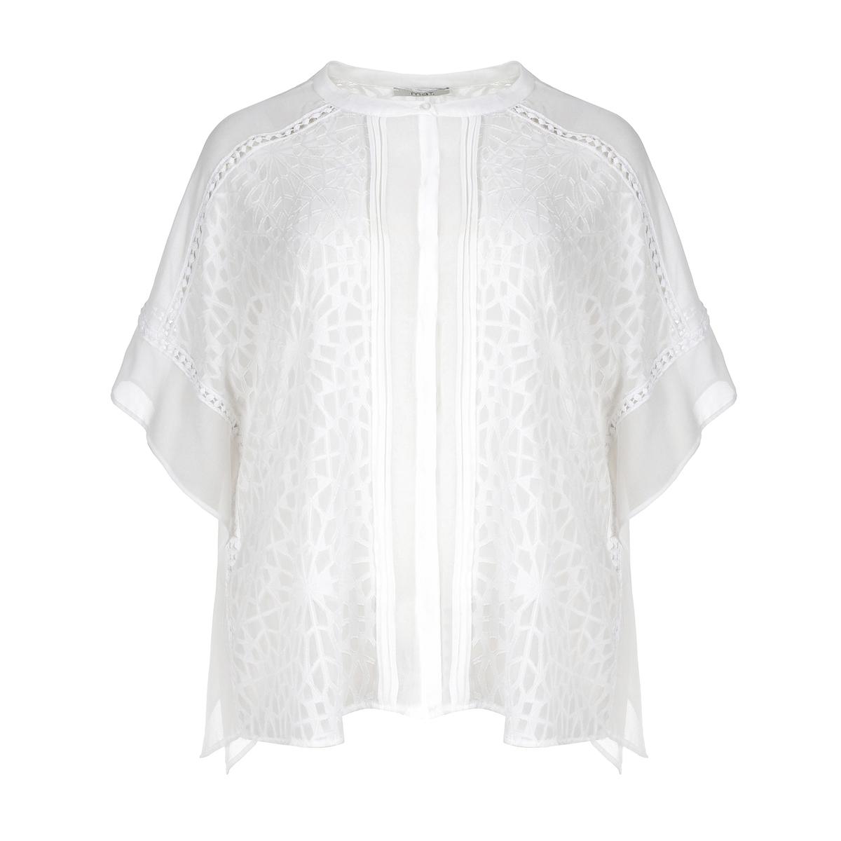 БлузкаБлузка из кружева с цветочным рисунком MAT FASHION. Блузка с низом из женственного и изящного кружева. Короткие рукава из струящейся ткани. Однотонная ткань на плечах и для отделки рукавов. Рубашечный воротник с изящной планкой застежки на пуговицы. 100% полиэстер<br><br>Цвет: белый<br>Размер: 44/48
