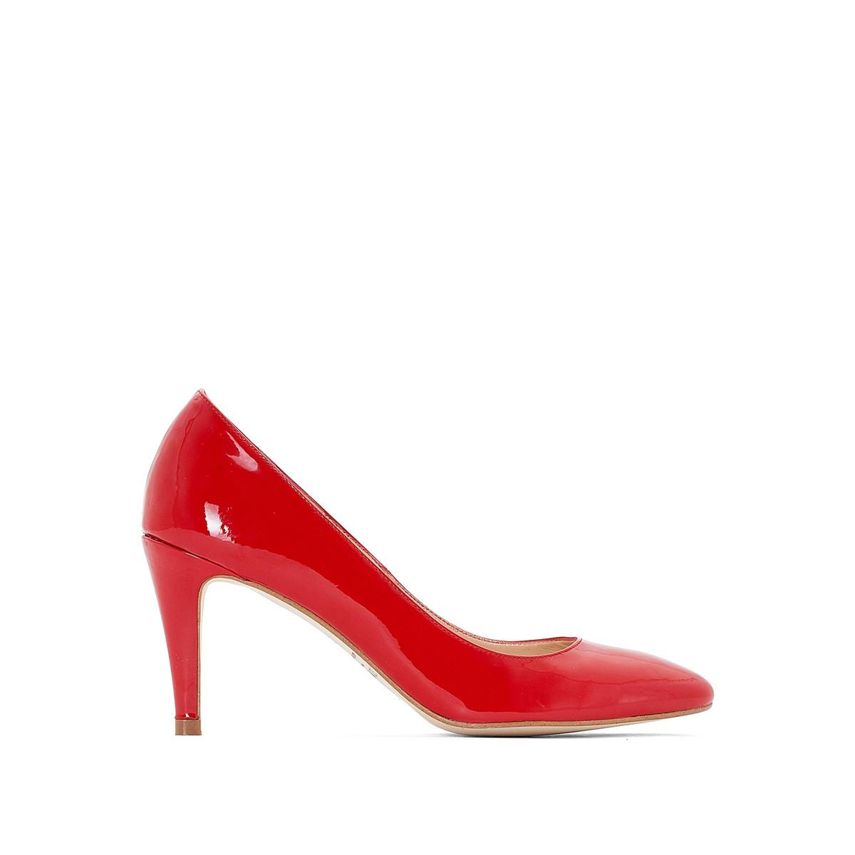 Туфли кожаные лакированные 11395Верх : Кожа.   Подкладка : Кожа.   Стелька : Кожа.   Подошва : эластомер   Высота каблука : 5 см   Форма каблука : тонкий каблук   Мысок : заостренный мысок     Застежка : без застежки<br><br>Цвет: красный лак<br>Размер: 36