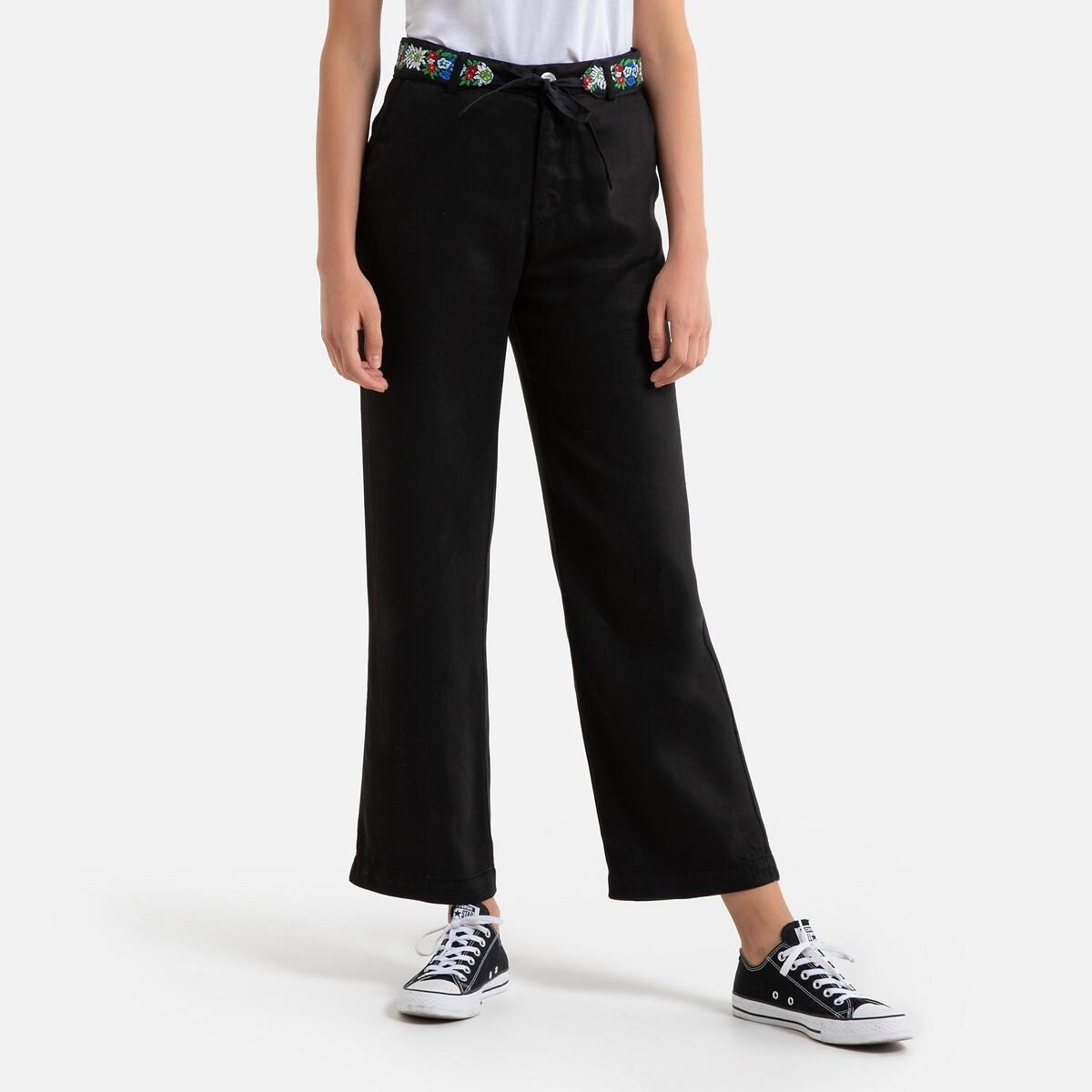 Pantalon droit à ceinture brodé SIMON