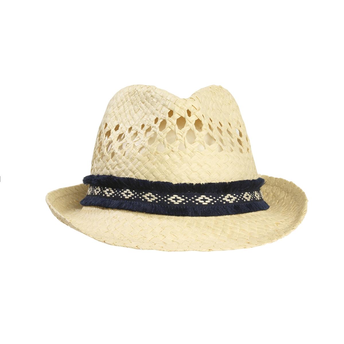 Шляпа-борсалино соломеннаяАжурная шляпа-борсалино из соломы, R Studio.Борсалино возвращается в  этой модели, выполенной из соломы и украшенной галуном  : да здравствует лето! !  Состав и описание :Материал : 100% соломыМарка : R Studio.Размеры  : окружность головы 56 смОтделка галуном .<br><br>Цвет: серо-бежевый