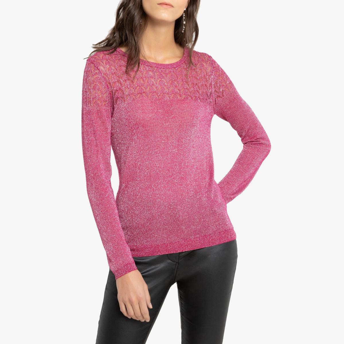 Пуловер La Redoute С круглым вырезом из тонкого ажурного трикотажа 46/48 (FR) - 52/54 (RUS) розовый пуловер la redoute с капюшоном из тонкого трикотажа 42 44 fr 48 50 rus красный