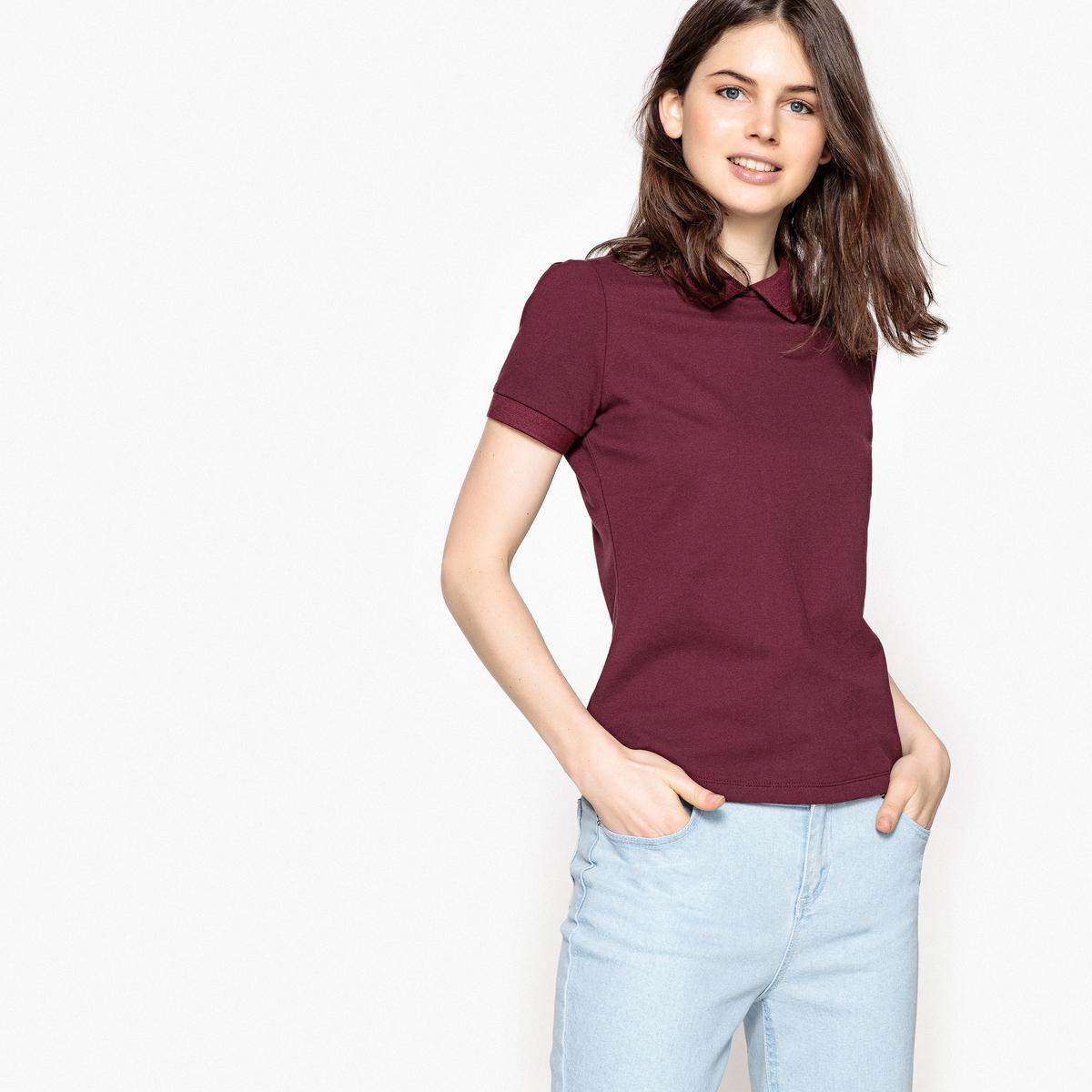 T-shirt com gola polo, mangas curtas, botões atrás