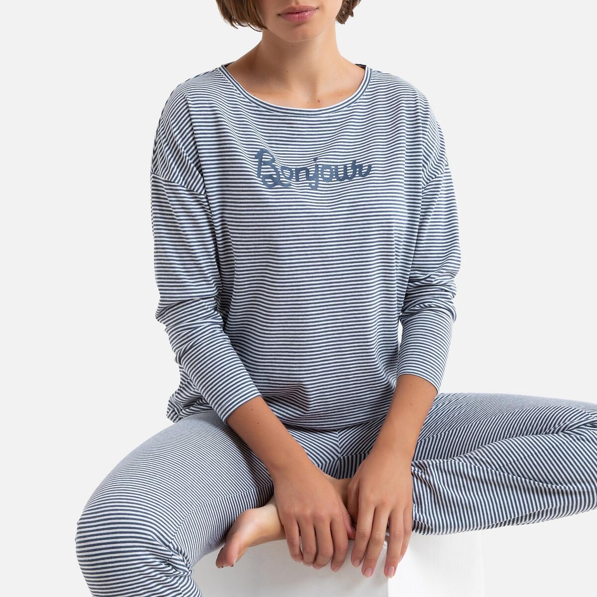 Пижама LaRedoute С длинными рукавами в полоску 34/36 (FR) - 40/42 (RUS) синий пижама la redoute с длинными рукавами 34 36 fr 40 42 rus желтый