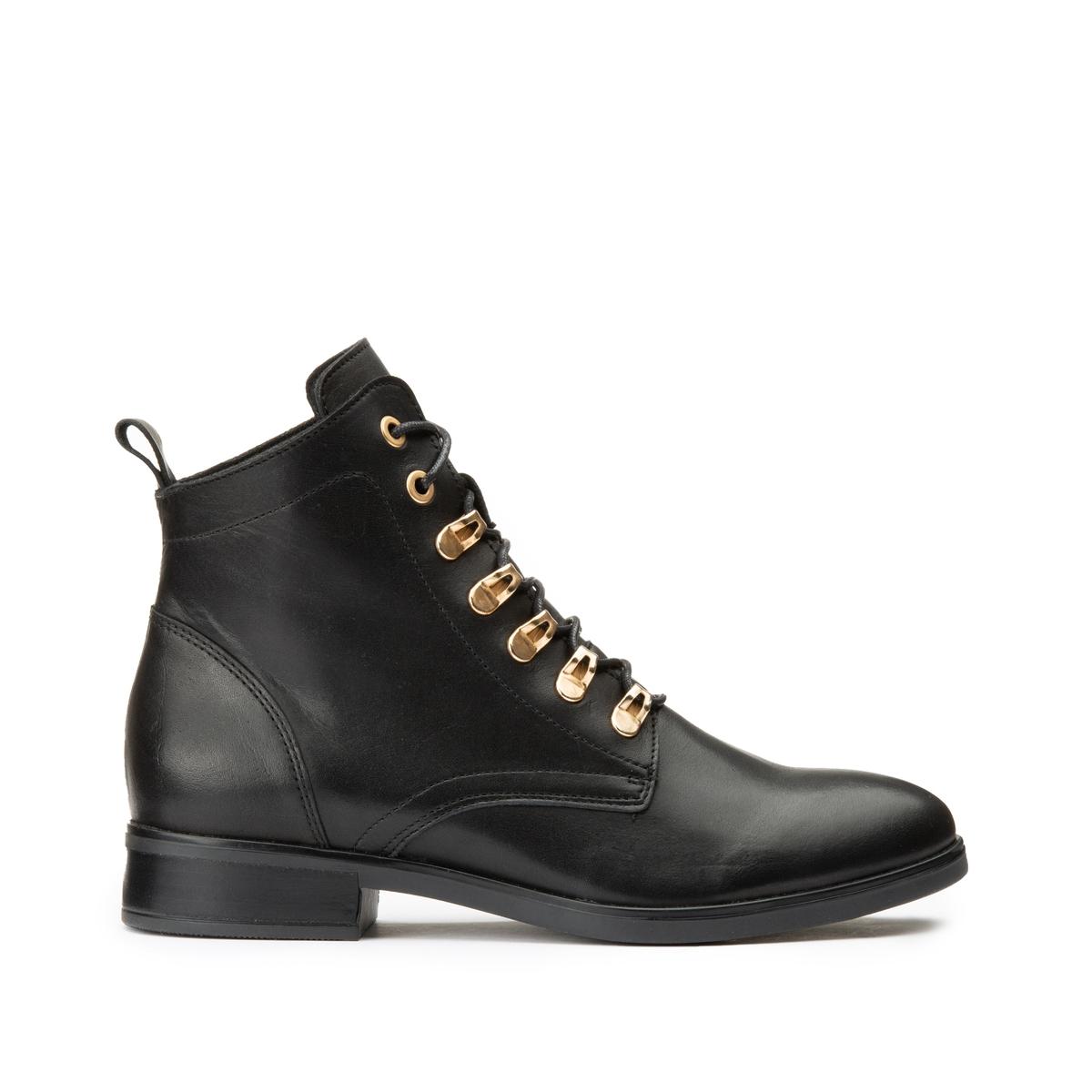 Ботинки La Redoute Кожаные на шнуровке 39 черный v neck ruffle bodycon wrap dress