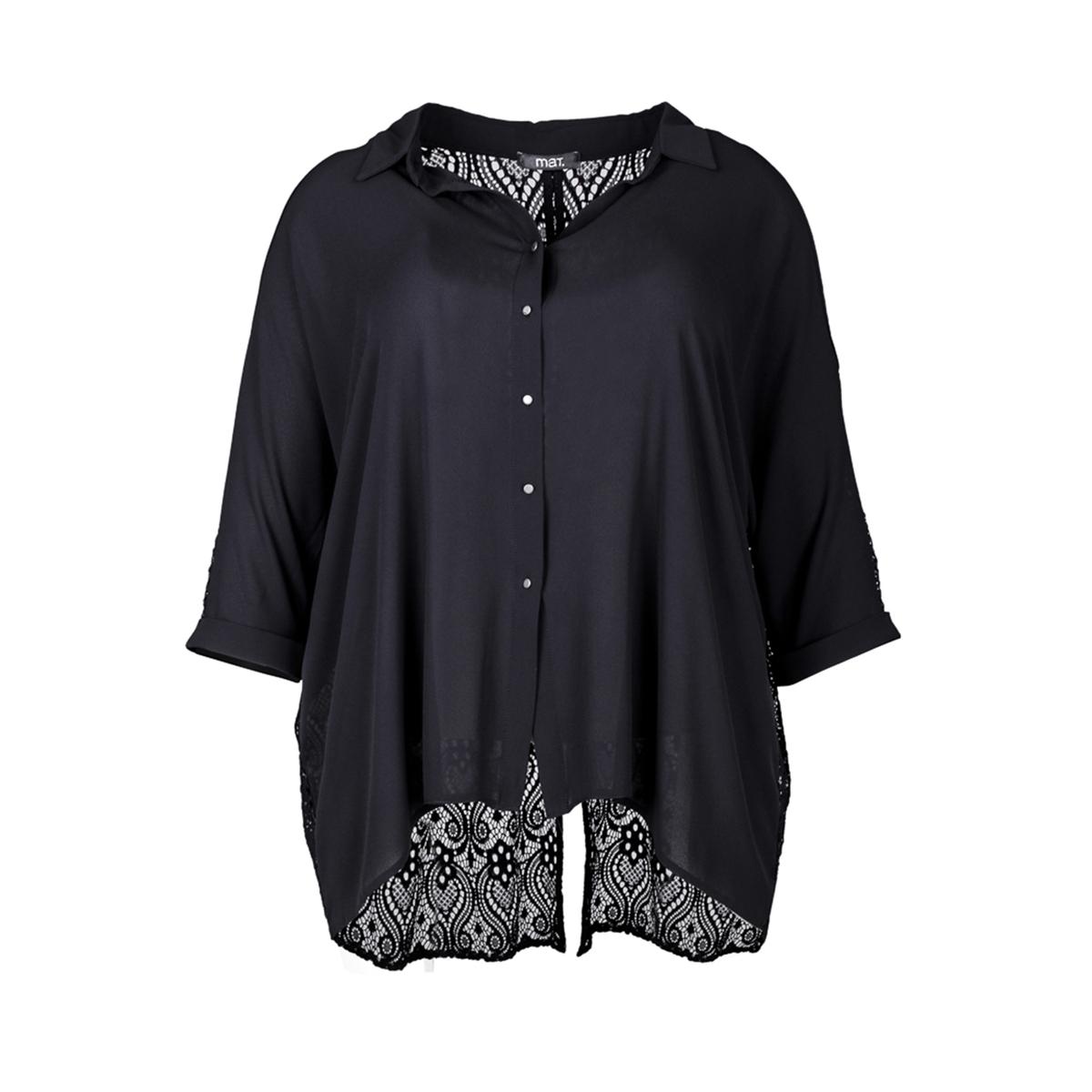 БлузкаБлузка MAT FASHION. 100% полиэстера.Блузка с женственной спинкой из изысканного кружева . Рукава 3/4  . Струящийся материал спереди . Рубашечный воротник с застежкой на металлические пуговицы .<br><br>Цвет: черный<br>Размер: 44/48