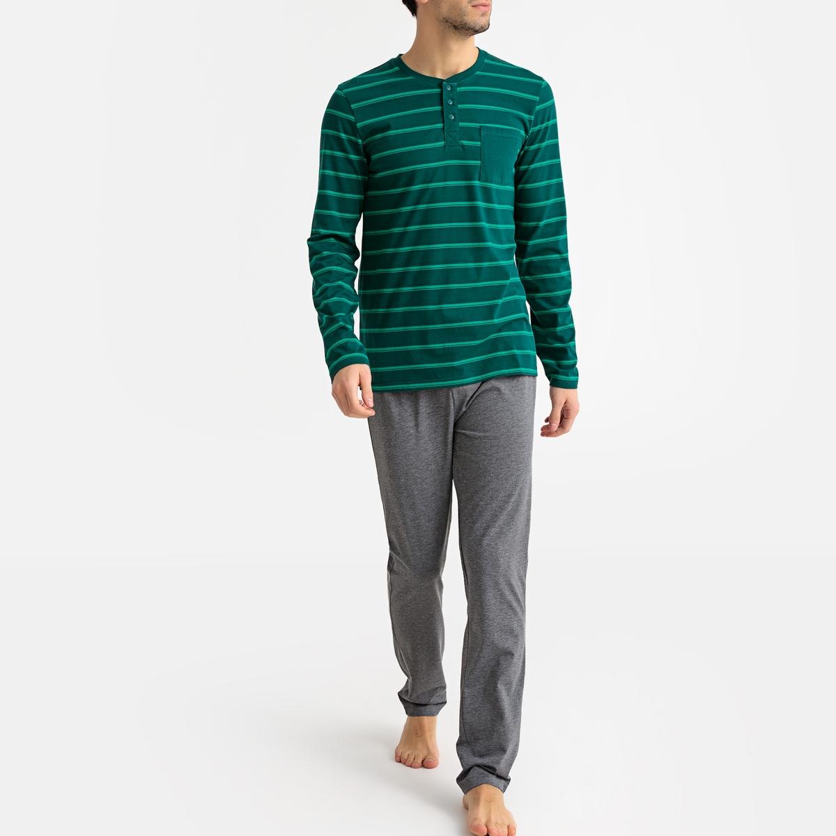 Pijama de mangas compridas às riscas, decote tunisino