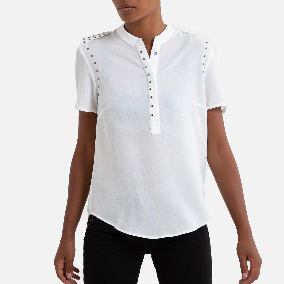 Блузка LaRedoute С V-образным вырезом и короткими рукавами 42 (FR) - 48 (RUS) белый блузка la redoute с рукавми и v образным вырезом 36 fr 42 rus синий