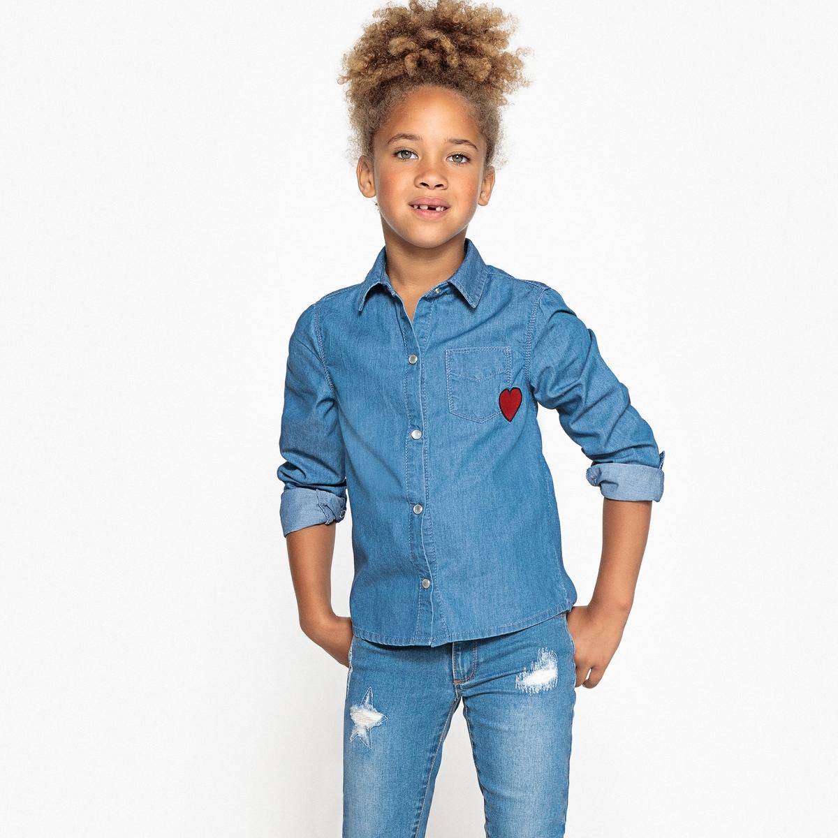 Рубашка джинсовая с рисунком сердце 3-12 лет