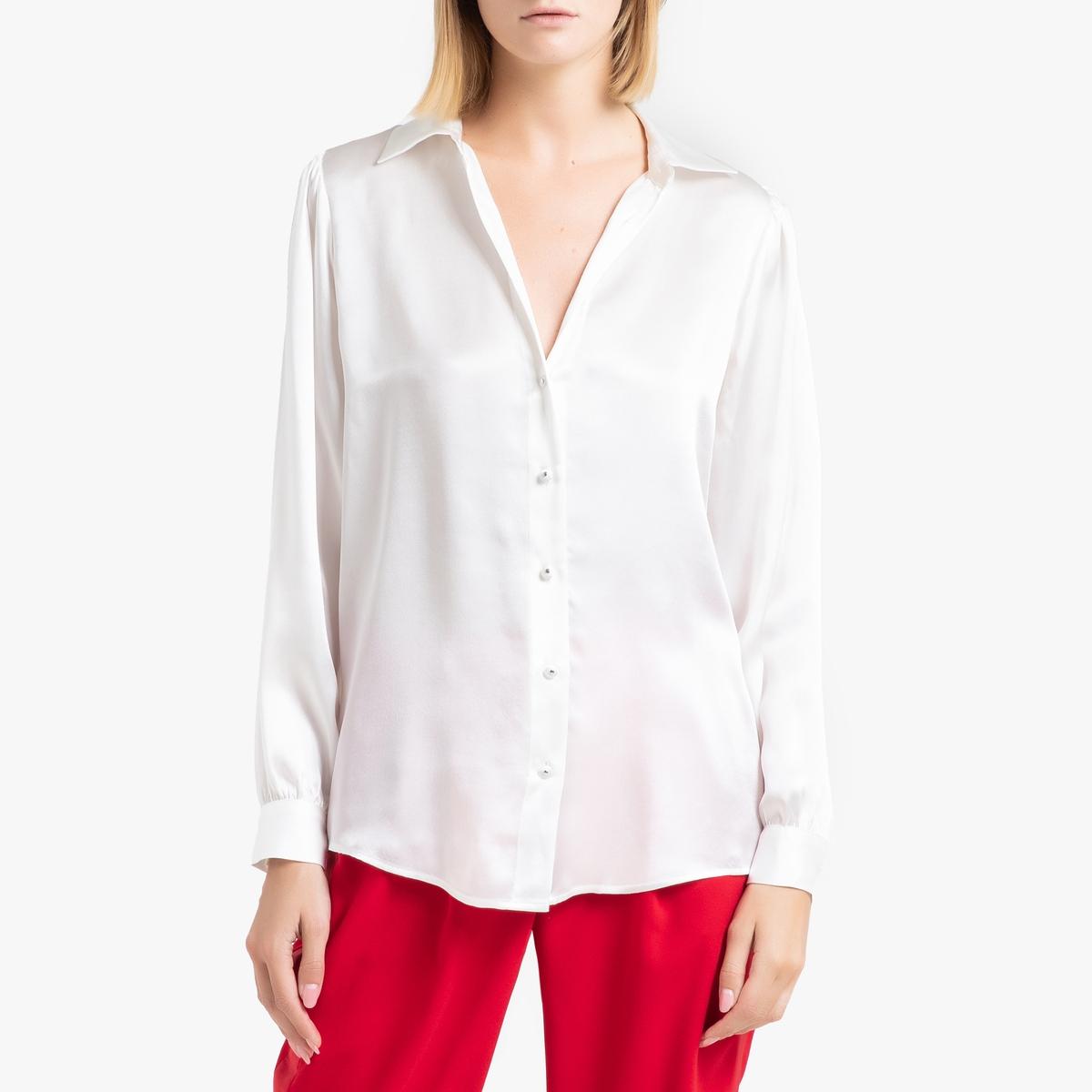 цена Блузка La Redoute С длинными рукавами из шелка 3(L) бежевый онлайн в 2017 году