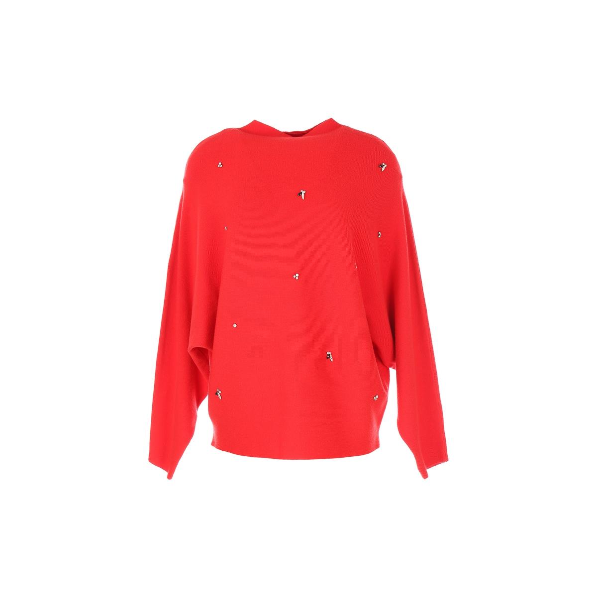 Пуловер с круглым вырезом из тонкого трикотажаОписание:Детали •  Длинные рукава •  Круглый вырез •  Тонкий трикотаж Состав и уход •  44% вискозы, 28% полиамида, 28% полиэстера •  Следуйте советам по уходу, указанным на этикетке<br><br>Цвет: красный<br>Размер: M