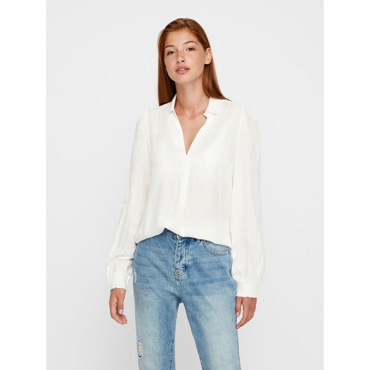 Блузка с V-образным вырезом, рисунком в горошек и длинными рукавами рубашка с круглым вырезом и рисунком в горошек