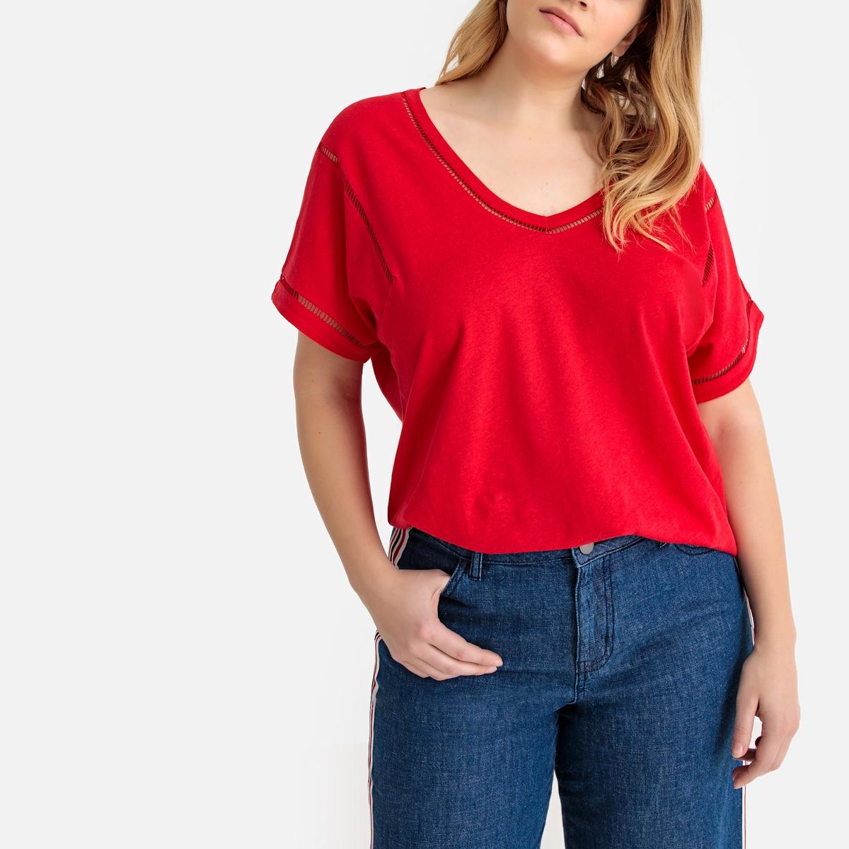 T-shirt, mistura de linho, bordado ajurado