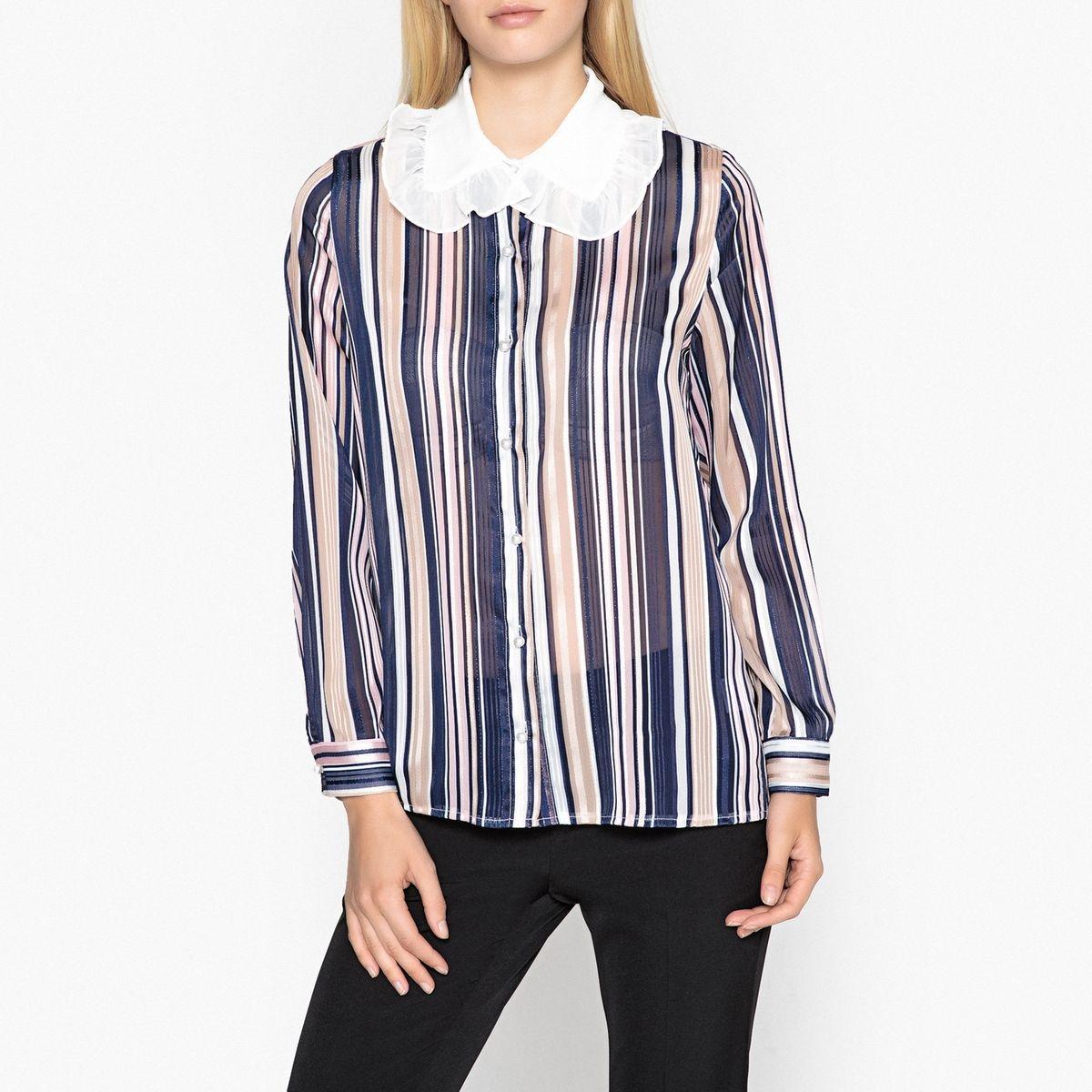 Chemise rayée transparente à grand col blanc