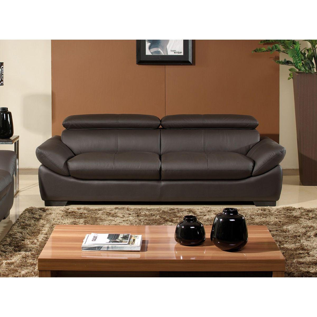 Canapé 3 places en cuir semi-épais BORNEO - Braun