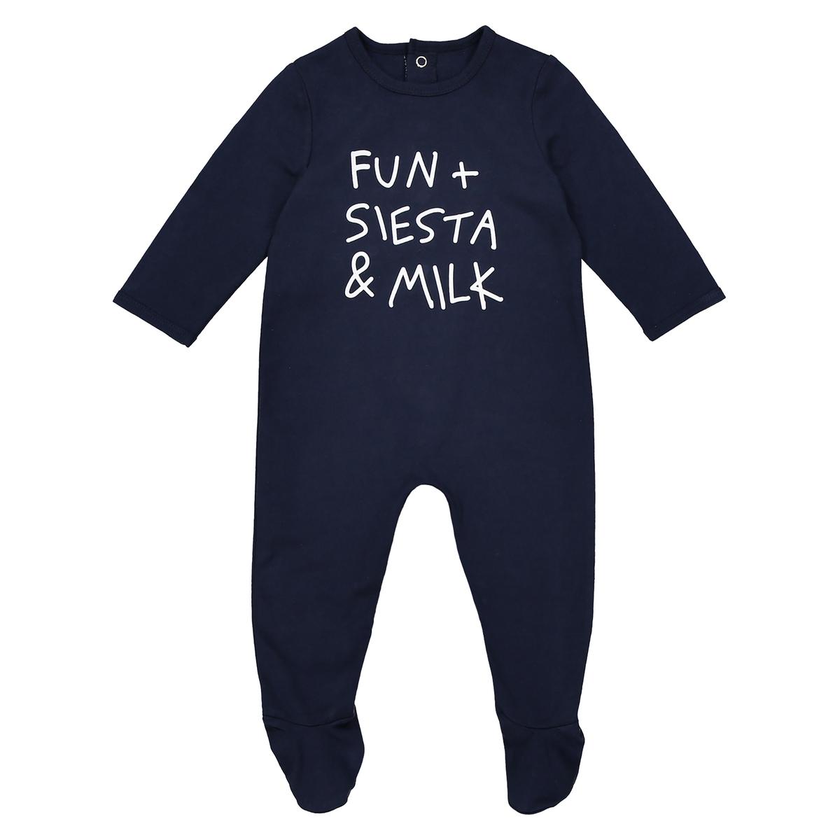 Пижама с застежкой на кнопки, 0 мес. - 3 года, знак Oeko TexОписание:Пижама с длинными рукавами и надписью FUN + SIESTA + MILK :  замечательная пижама для новорожденных.Детали •  Пижама с длинными рукавами и штанинами. •  Принт спереди : FUN + FIESTA + MILK. •  Носки с противоскользящими элементами для размеров от 12 месяцев  (74 см).  •  Застежка на кнопки сзади. •  Круглый вырез.Состав и уход •  Материал : 100% хлопок. •  Машинная стирка при 30° на умеренном режиме с изделиями схожих цветов. •  Стирать, сушить и гладить с изнаночной стороны. •  Машинная сушка на умеренном режиме. •  Гладить при низкой температуре.Товарный знак Oeko-Tex® . Знак Oeko-Tex® гарантирует, что товары прошли проверку и были изготовлены без применения вредных для здоровья человека веществ.<br><br>Цвет: синий морской<br>Размер: 3 мес. - 60 см.3 года - 94 см.9 мес. - 71 см.6 мес. - 67 см.1 мес. - 54 см.2 года - 86 см.18 мес. - 81 см.1 год - 74 см