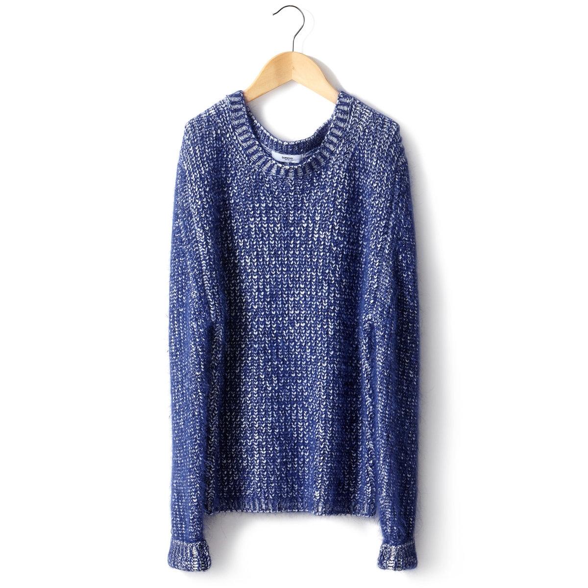 ПуловерПуловер SUNCOO. 22% шерсти альпаки, 54% акрила, 24% полиамида. Длинные рукава. Круглый вырез.<br><br>Цвет: синий<br>Размер: 1(S)