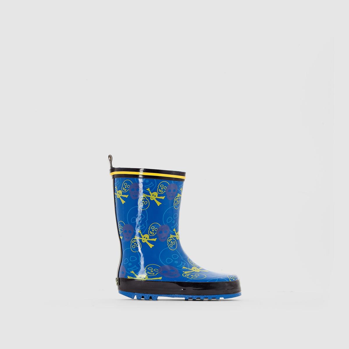 Сапоги резиновые с рисункомНоги в сухости, какое удовольствие играть под дождем в сапогах Poisson от Be Only!<br><br>Цвет: синий/наб. рисунок<br>Размер: 25
